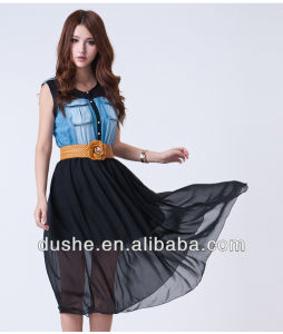 China Manufacturer Lady Sleeveless Denim and Lace Dress S131275