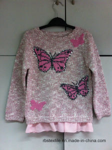 Girls Butterfly Intarsia - True Knitted Sweater pictures & photos