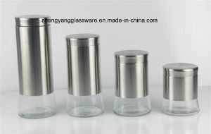 4PCS Glass Jar with Stainless Stain Set with Lid pictures & photos