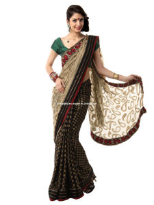 Mysilk Black and Beige Brasso Fashion Saree (Rs3140)