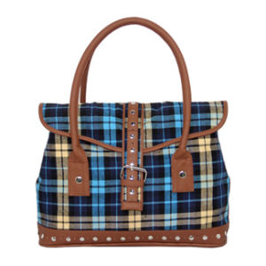 Casual Ripstop Fabric Handbags Lady PU Bag pictures & photos