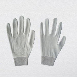 Bleached White Cotton Knitted Wrist Work Glove (2118) pictures & photos