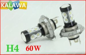 1 Pair 60W H4 6000k H /L Beam Fog Light Osram Chip Black Metal Type High Power LED Lamp Car Headlamp DC12-24V ^Jmq