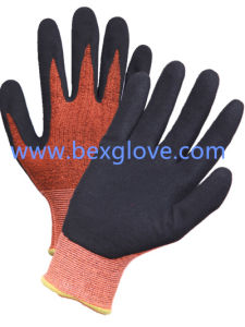 13 Gauge Nylon/Cotton/Spandex Liner, Nitrile Coating, Sandy Finish Work Glove pictures & photos