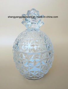 Pineapple Small Glass Sugar Bowl with Glass Lid pictures & photos