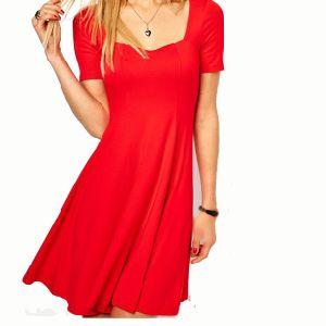 Red U Collar Short Dress Fashion Ladies Dress (LD-003)