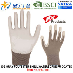 13G Grady Polyester Shell Waterborne PU Coated Gloves (PU7101) with CE, En388, En420 Work Gloves pictures & photos
