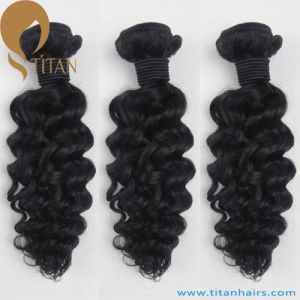 Natural Black Deep Wave Virgin Remy Human Hair Weft pictures & photos