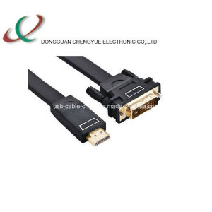DVI-02 Flat HDMI Male-DVI 24+1 Male Cable Gold Plated