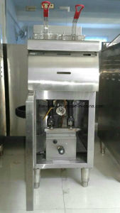 Stainless Steel 1tank 2 Basket Gas Fryer with Cabinet (HGF-70A) pictures & photos