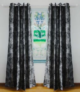 Flocked Faux Silk Grommet Panel Curtain pictures & photos