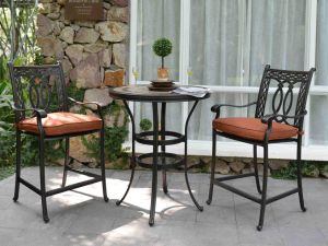 New Traditional American Style Outdoor Garden Furniture Iron Metal Restaurant Bar Table and Barstool pictures & photos