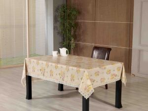 PVC Embossed Tablecloth with Flannel Backing (TJG0019) pictures & photos