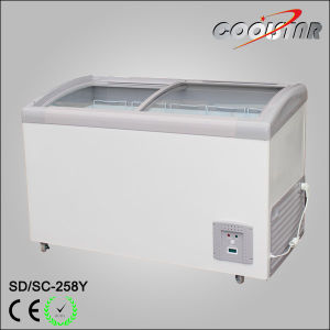 Supermarket Curved Glass Ice Cream Chest Freezing Showcase (SDSC258Y) pictures & photos