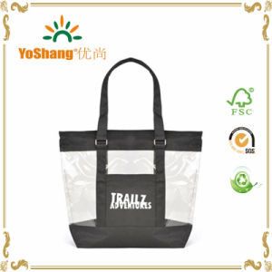 China Manufacturer Custom Cyan Beach PVC Clear Tote Bag with Zipper Closure pictures & photos