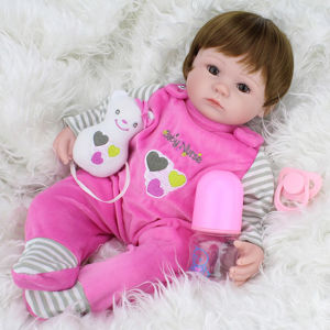 16 Inch Silicone Reborn Baby Doll Kids Playmate Gift for Girls Baby Alive Soft Toys for Bouquets Vinyl Reborn Baby Dolls