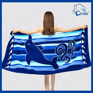 100% Cotton Yarn Dolphin Reactive Printing Beach Towel