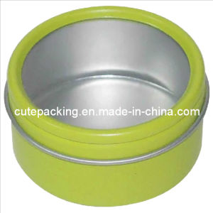 FDA Approved Round Tea Tin Box with a Window (TB22)