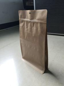 Kraft Paper Zipper Bag Quad Pouch Flat Bottom Paper Bag pictures & photos