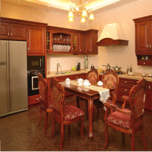 High Quality Red Cherry Kitchen Furniture with Original Sinmenz Appliances and Natural Stone Worktop pictures & photos