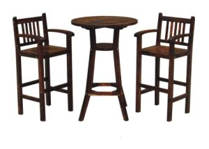 Natural Chinese Cedar Wood High Foot Bar Chair Barstool pictures & photos