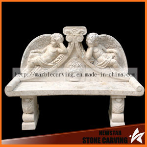Light Yellow Travertine Marble Long Bench with Angel Boys Nsb042 pictures & photos