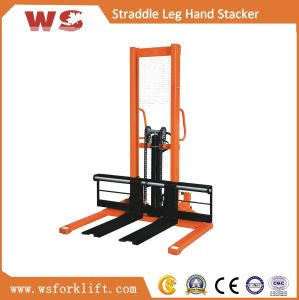 1 Ton Straddle Leg with Adjustable Forks Manual Stacker pictures & photos