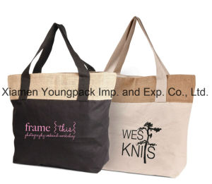Custom Printed Eco-Friendly Reusable Large Jute and Cotton Canvas Combination Grocery Tote Bags pictures & photos