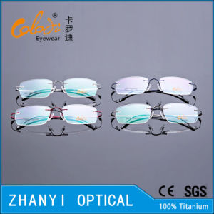 Lightweight Rimless Titanium Eyeglass Eyewear Optical Glasses Frame with Hinge (8510-C1) pictures & photos