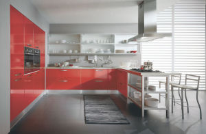 Red Color High Glossy Lacquer Modular Kitchen Cabinet pictures & photos
