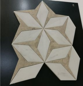 Rhomboid Shaped Crema Marfil Waterjet Mosaic Tile for Floor pictures & photos