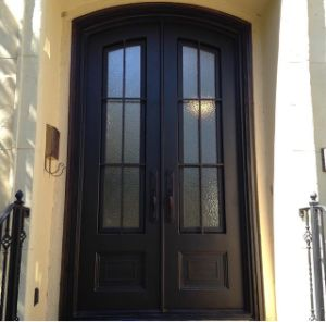 Modern Style Arch Top Wrought Iron Double Entry Door with Tempered Glass pictures & photos