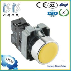 Manufacture Direct Sales Xb2-Ba51 Yellow Color 1 No (1 NC) 22mm Flat Head Metal Push Button Switch pictures & photos