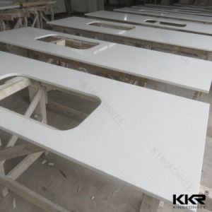 White Glossy Quartz Bathroom Counter Top From Kkr Factory pictures & photos