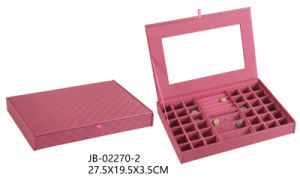 New Design Good Quality Red Leather Retangle Shape Jewelry Box for Earring Storage