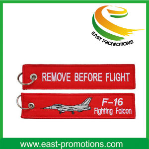 Custom Promotion Cheap Remove Before Flight Embroidery Keychains pictures & photos