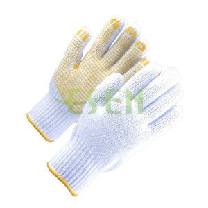 Natural Cotton Knitted PVC Dots Industrial Safety Work Glove (D16-H2) pictures & photos