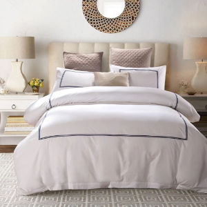 High Density Embroidery White Hotel Duvet Cover (DPFB8015) pictures & photos