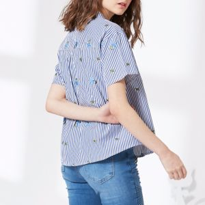 Blue and White Stripe Embroidery V-Neck Women Shirt pictures & photos