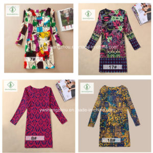 Newest European Printed Long Sleeved Classical Fashion Women Dress pictures & photos