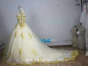 Gold Lace Bridal Ball Gown Tulle Muslim Long Sleeves Wedding Dress A185 pictures & photos
