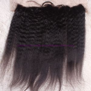 8A Grade 13X4 Peruvian Kinky Straight Lace Frontal Closure Bleached Knots, Free 3 Part Kinky Straight Frontal pictures & photos