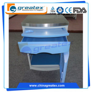 Hospital Beside Cabinet for Hospital Room with Castors with Stainless Steel on The Top (GT-TA036) pictures & photos
