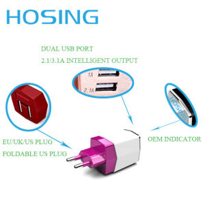 5V 3.4A Dual USB Wall Charger White/Black/ OEM Color Fast Charging for Mobile Phone pictures & photos
