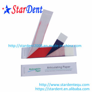 New Materical Hydrophilic Thickening Red/Blue Straight Type Dental Articulating Paper pictures & photos