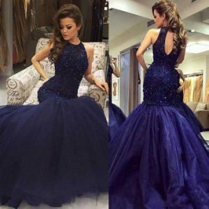 Navy Blue Party Dresses Beading Mermaid Prom Formal Gowns Z5023 pictures & photos