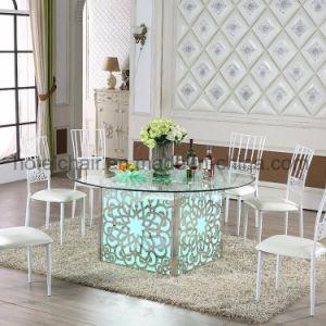 2017 Square Modern Glass Dining Table with LED Light pictures & photos