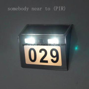 Solar Doorplate Light Outdoor Stainless Steel Apartment House Number Light-Operated Lamp with PIR Sensor Light pictures & photos