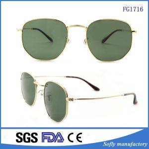 Fashion Green Lens Unisex Metal Sunglasses with BSCI Audit pictures & photos