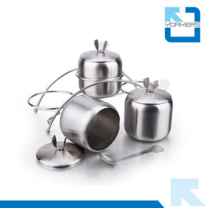 3 Pieces Stainless Steel Spice Condiment Storage Pot Salt Pepper Bottle pictures & photos